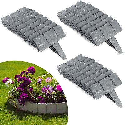 20,30 Garden Edging Cobbled Stone Effect Plastic Lawn Plant Border Hammer In