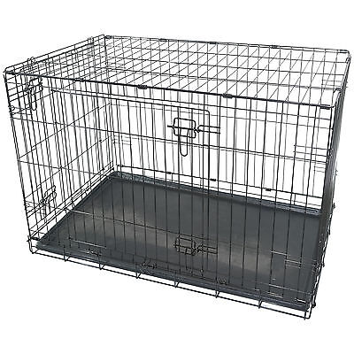 "36"" Large Dog Cage Crate Pet Puppy Folding Metal Cage Carrier Handle Transport"