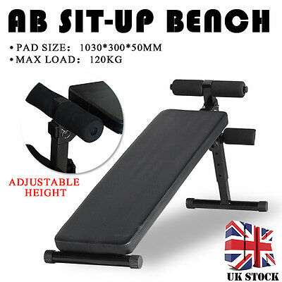 Folding Adjustable Ab Sit Up Decline Home Gym Crunch Fitness Exercise Bench