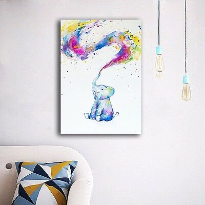 30×40×3cm Colorful Elephant Canvas Prints Wall Art Home Decor Framed Painting