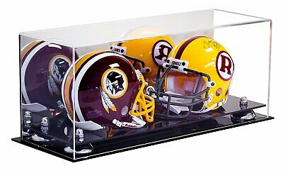 Double Mini Football Helmet Display Case Mirrored with Silver Risers (A019-SR)