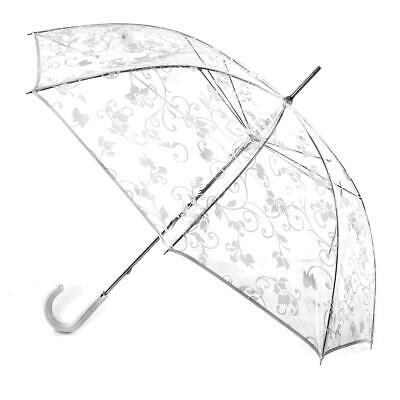 totes Ladies PVC Walker with White Floral Scroll Umbrella  White
