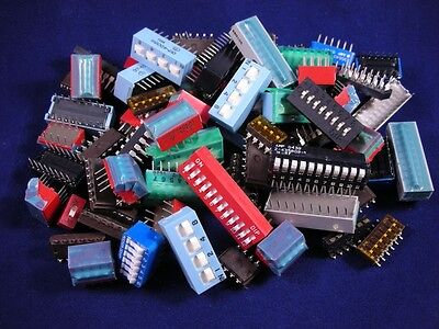 (100+ pcs.)  DIP Switch - Grab Bag, assorted values and sizes