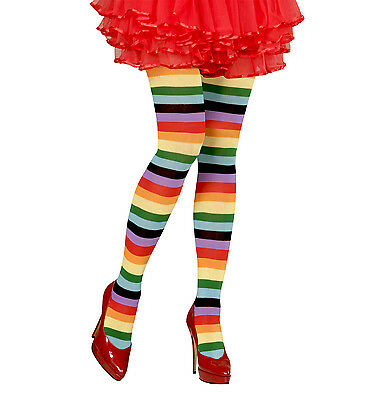 Rainbow Tights Pantyhose Clown Pride Circus Xl Fancy Dress