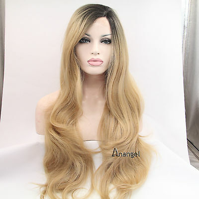 Black Roots Lace Front Wigs Heat Resistant Light Blonde Wavy Long Wig Full Hair