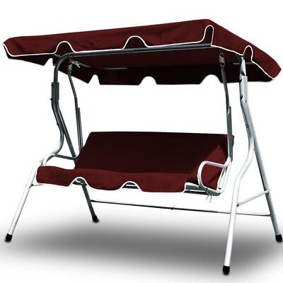 Garden Swing Bench with Red Canopy Sun Shade Outdoor 3 Seater Hammock Seat Bed