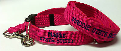 Personalised Embroidered Dog Leads Puppy Lead Dog Agility Your Choice of Text