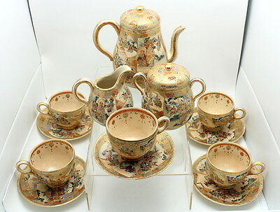 Fine Antique 13 Piece Japanese Meiji Satsuma Porcelain Tea Set W/ Shimazu Mark