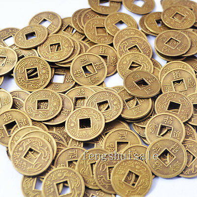 "100PCS Fengshui I Ching Coins Dia:0.51""/1.3CM+5 Pouch SKU:Y1071"