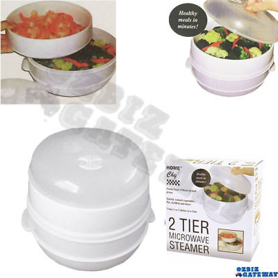 2 Tier Microwave Steamer Double Layer Cooking Meals Kitchen Appliances Vegetable