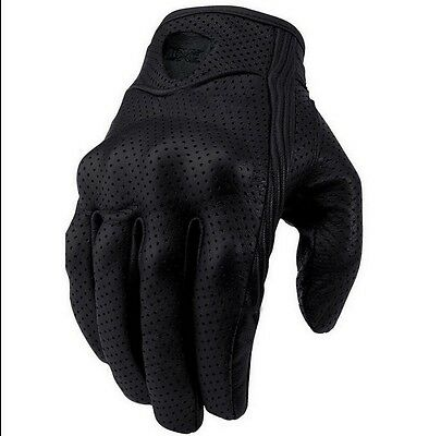 Motorcycle Racing Riding Bike Protective Armor Short Leather Gloves Mesh Black