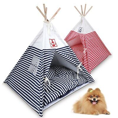 Hot Pet Dog Cat Tent Navy Striped Yurt Washable Puppy Kitten Beds Play House