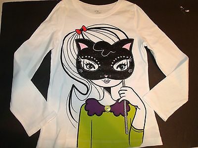 The Children's Place Cute Girl Black Glitter Kitty Cat Mask Top Size 5/6