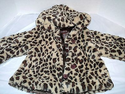 The Children's Place Leopard Print Faux Fur Lined Hooded Swing Coat 18 24 2T 3T