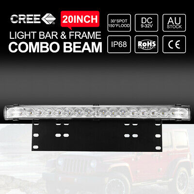 20 inch CREE LED Light Bar With Number Plate Frame For Car SUV Offroad Trucks
