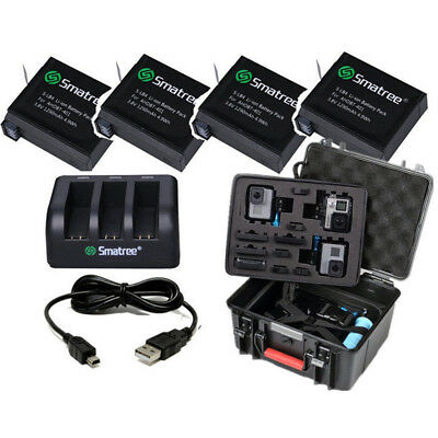 Smatree Battery 4-Packs Charger and GA700-3 Hard Case For GoPro Hero4 Camera