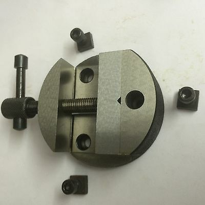 "Brand New 80 mm Round Vice for 3"" (75 mm) Rotary Table + Fixing Tee Nuts"