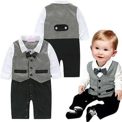 Baby Boy Formal Party Wedding Tuxedo Waistcoat Bow Tie Suit Newborn Suits Set
