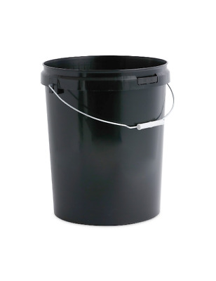 1 x 25 L, Ltr, Litre Black Plastic Bucket Container with Tamper evident Lid