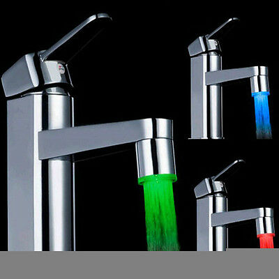 Water Faucet Tap 7 Color Flash LED Light Glow Shower Spray Stream Tap Bathroom
