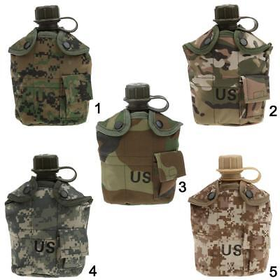 1L Outdoor Camping Hiking Camo Army Military Water Bottle Canteen & Cover & Cup