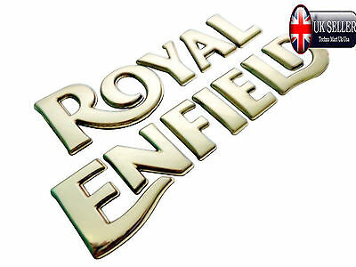 New Pair Royal Enfield Petrol Fuel Tank Golden Logo Badge Emblem Monogram