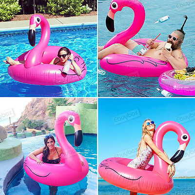 """47"""" Pink Inflatable Giant Pink Flamingo Shaped Pool Float Ring Swimming Fun Toys"""
