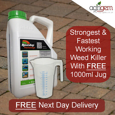 5L Roundup Pro Vantage 480 Strong Weed Killer With Free Jug Weeds