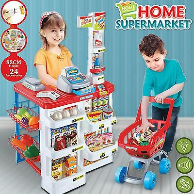 Kids Supermarket Store Food Pretend Play Set Cash Shopping Trolley Toys Children