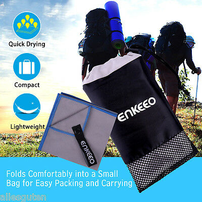 Enkeeo Microfibre Soft Camping Towel Quick Dry Travel Bath Sports Yoga Swimming