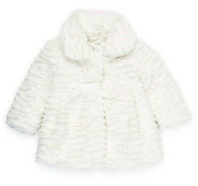 Baby Girls Cream Fur Coat Jacket Buttons Bows Wedding Bridemaid Formal 0-36 Mnth
