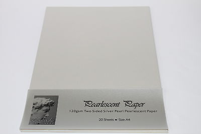 A4 SMOOTH SILVER PEARL PEARLESCENT PAPER OR CARD 120 OR 250gsm LASER PRINTING