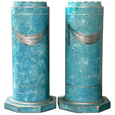 Pair of Blue Painted Pedestals 102-7340