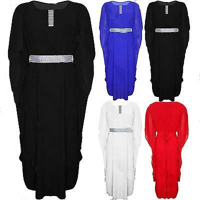 Ladies Abaya Kaftan Butterfly Women Dress Jilbab Islamic Wear Maxi Diamante