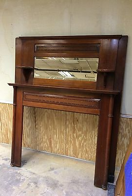 Antique Salvage Cherry Mantle With Beveled Mirror