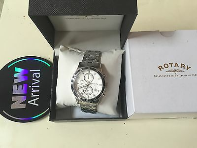 New Rotary Mens Stainless Steel Multi Dial Chronograph Watch Luminous RRP £189