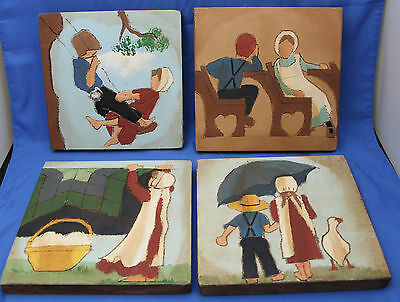 "4 Handpainted Amish Children Scenes on Wood - 7x7"" - Mim & Doc Van Winkle"