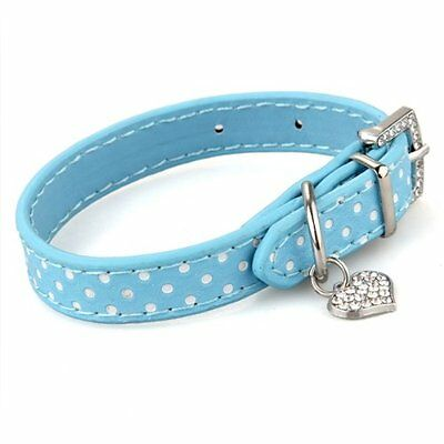 CY Blue PU Leather Dog Cats Pets Puppy Neck Safety Collars XS