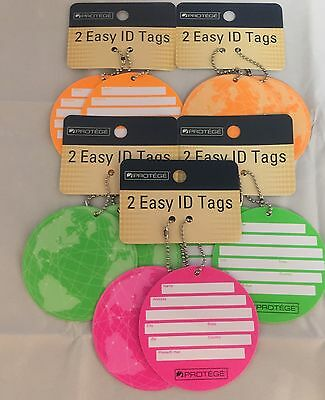 Lot Of 10 Protege Round Style Luggage Tags Suitcase ID Neon Green, Orange & Pink