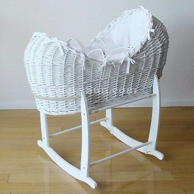 Large Luxury Baby White Wicker Moses Bassinet w/ Waffle Bedding & Rocking Stand