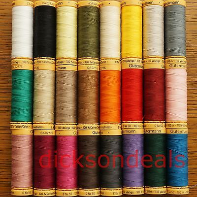 Gutermann 100% Cotton Thread 100m Reel Hand and Machine choose from 32 colours