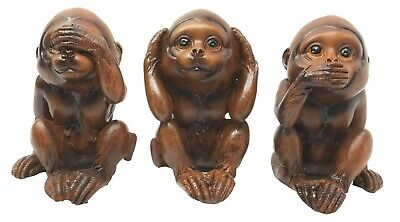 "See Hear and Speak No Evil Three Wise Monkey 3""h Jungle Ape Figurine Statue"