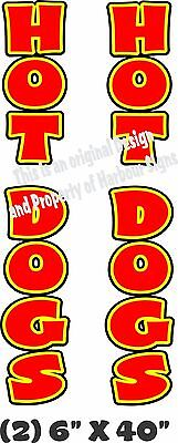 "Hot Dogs Vertical Decal 40"" x 6"" each Trailer Cart Concession Food Truck"