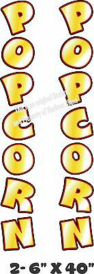 """Popcorn Vertical Decal 40"""" x 6"""" each Cart Concession Trailer Food Truck"""