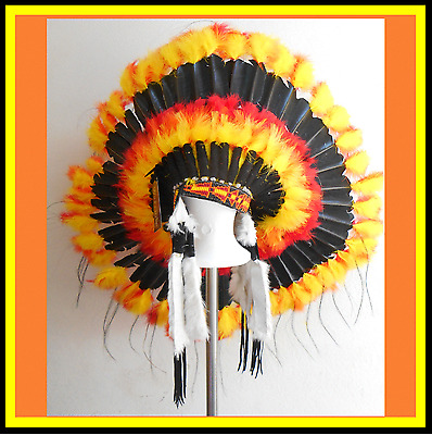 "Genuine Native American Navajo Indian headdress 36 inch ""BLACK SUN DANCER"""