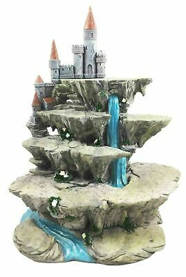 """Fort Castle on Waterfall Display Stand For Small Mini Figurine Set 13.5""""h Decor"""