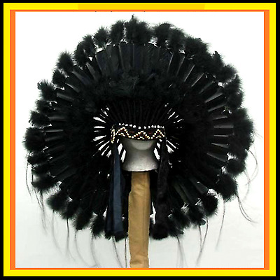 "Genuine Native American Navajo Indian headdress 36 inch ""BLACK MESA"" All Black"
