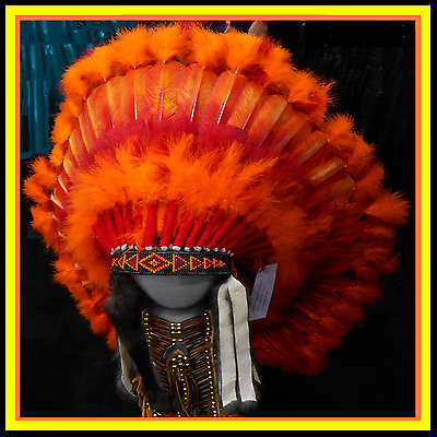 "Genuine Native American Navajo Indian headdress 36 inch ""PHOENIX"" Orange & Red"