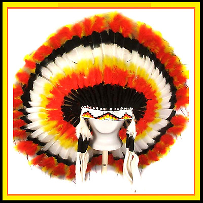 "Genuine Native American Navajo Indian headdress 36 inch ""PRAIRIE FIRE"""
