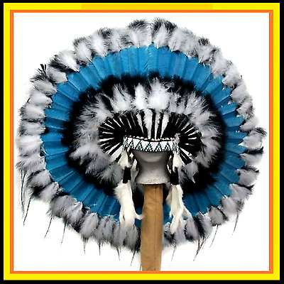 "Genuine Native American Navajo Indian headdress 36 inch ""STILLWATER"""